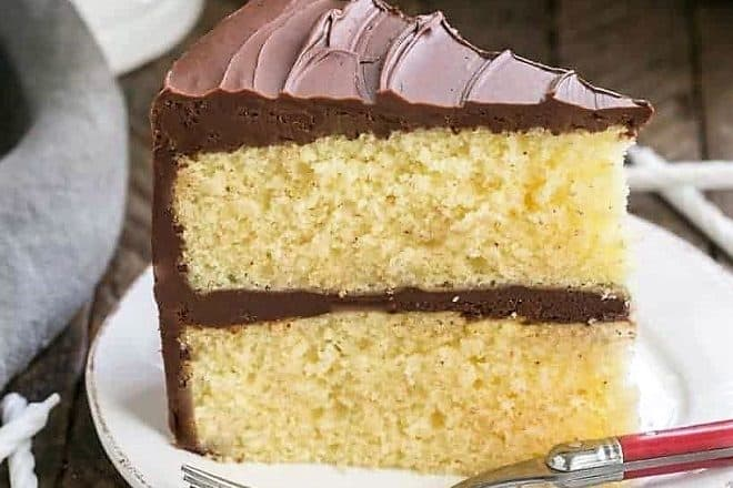 Classic Yellow Butter Cake With Chocolate Icing On A White Plate Red Handled Fork