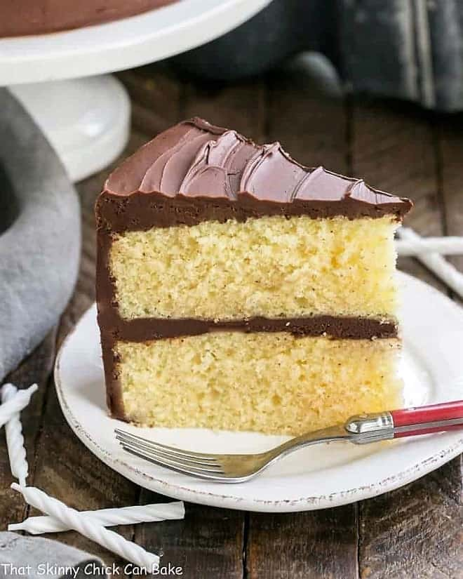 Classic Yellow Butter Cake With Fudgy Chocolate Icing