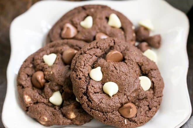 Triple Chocolate Fudge Cookies on a square white plate