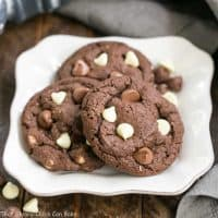 Triple Chocolate Fudge Cookies | Super fudgy batter and two kinds of chocolate chips make these a chocolate lover's dream cookie!