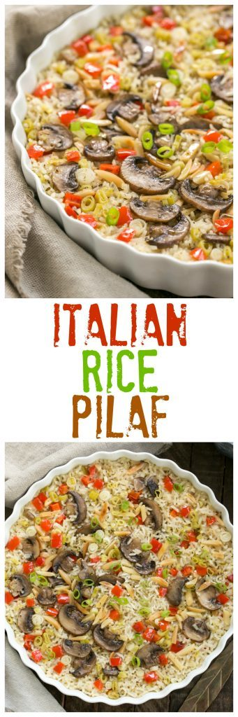 Italian Rice Pilaf with Toasted Almonds | Super easy, scrumptious, oven baked rice!