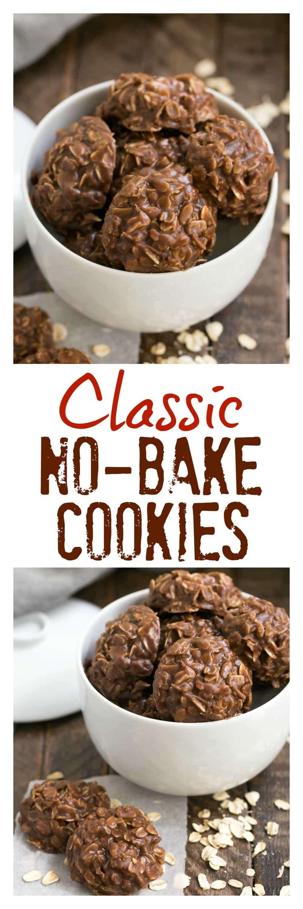 Classic Chocolate Peanut Butter No Bake Cookies - SO easy and always a hit! Plus no oven needed! #nobake #cookies #chocolate #peanutbutter