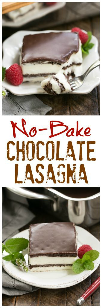 No Bake Chocolate Lasagna | A decadent layered dessert with chocolate graham crackers, creamy custard, chocolate ganache and no Cool Whip or oven needed!