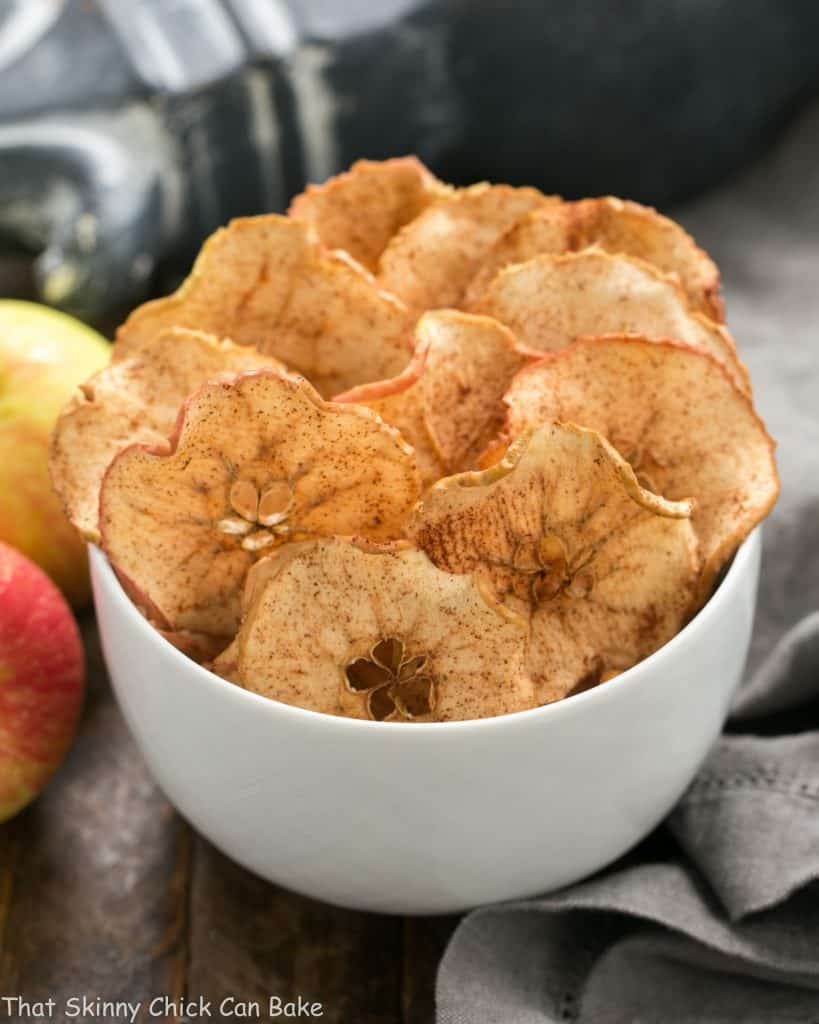 Cinnamon Apple Chips in a white serving bowl