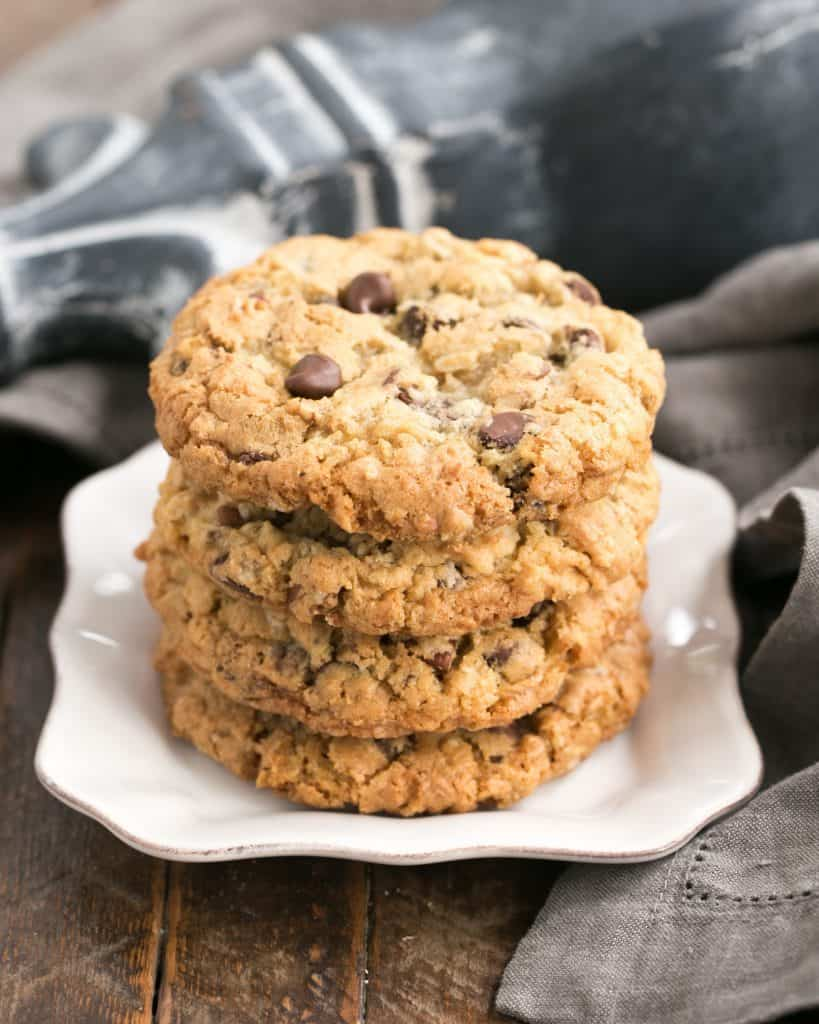 Loaded Cowboy Cookies Recipe - Chewy, buttery cookies with oats, chocolate chips, pecans and coconut