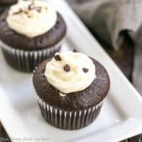 Frosted Black Bottom Cupcakes   Cocoa Cupcakes with a chocolate chip studded cream cheese filling and a swirl of dreamy cream cheese frosting #chocolate #cupcakes