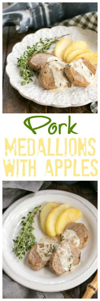 Apple Topped Pork Medallions with Calvados Cream Sauce | A gourmet entree that's easy enough for a weeknight!