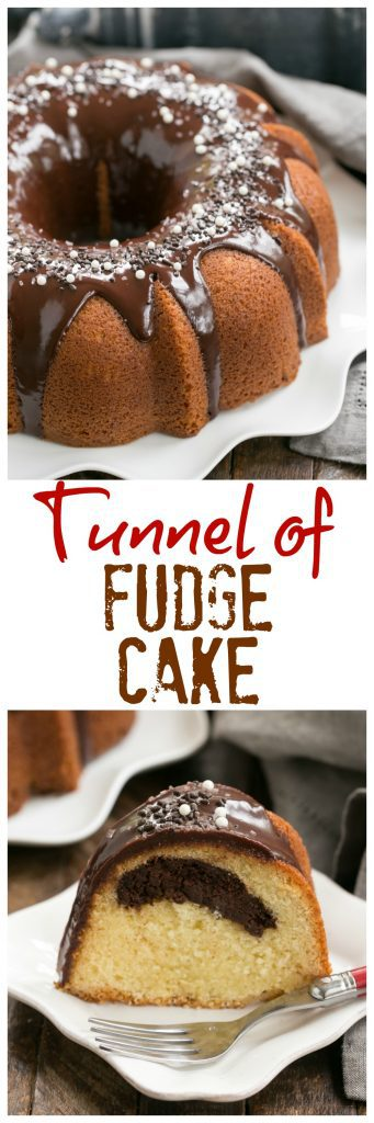 Tunnel of Fudge Cake | A rich butter cake with a fudgy ribbon in each slice. Make for Hallloween as a Tunnel of Doom Cake!