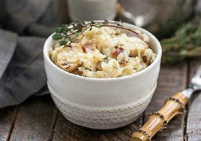 Bacon Mushroom Risotto with Caramelized Onions