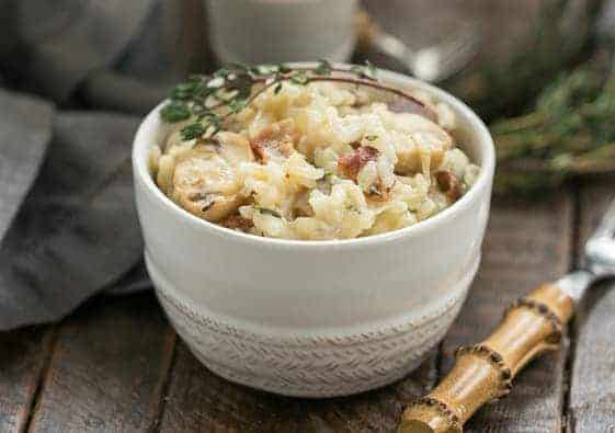 Bacon Mushroom Risotto with Caramelized Onions | A rich, gourmet rice dish!