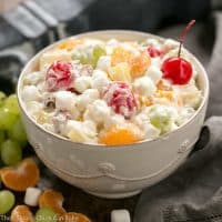 The Best Ambrosia Salad {No Cool Whip} | A dreamy fruit and coconut salad with marshmallows and pecans.