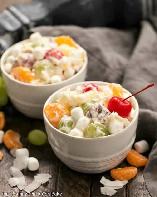 The Best Ambrosia Salad {No Cool Whip} in two small white bowls