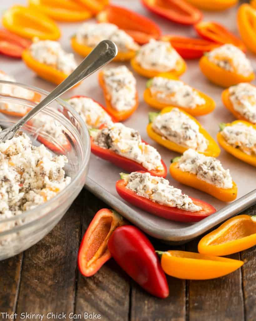 Cream Cheese Stuffed Mini Peppers with Sausage | An easy, flavorful appetizer for dinner with friends or game day entertaining! #ad #DivineFlavor