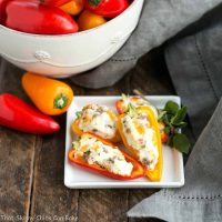 Cream Cheese Stuffed Mini Peppers with Sausage   An easy, flavorful appetizer for dinner with friends or game day entertaining! #ad #DivineFlavor