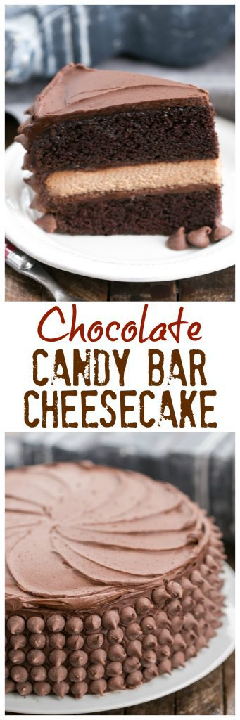 Candy Bar Cheesecake | A sublime combination of a rich chocolate layer cake and milk chocolate cheesecake!