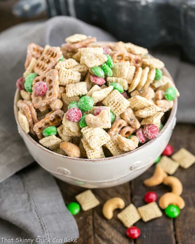 a bowl of festive party mix