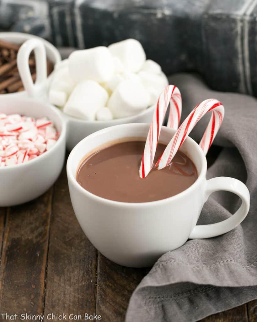 Easy Peppermint Hot Chocolate in a white mug