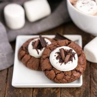 Marshmallow Topped Hot Cocoa Cookies or Hot Chocolate Cookies on a small whit plate with marshmallows and mug of hot chocolate