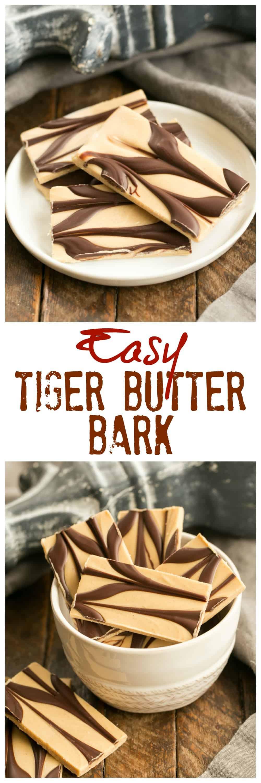 Peanut Butter Chocolate Tiger Bark - A beautiful, easy peanut butter chocolate confection! #peanutbuttercandy #chocolatebark #chocolatepeanutbutter #candy