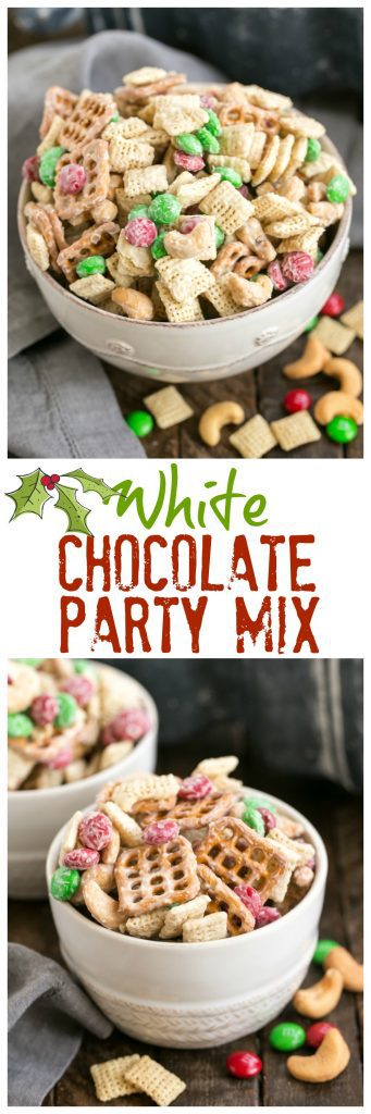 titled photo collage (and shown) White Chocolate Party Mix
