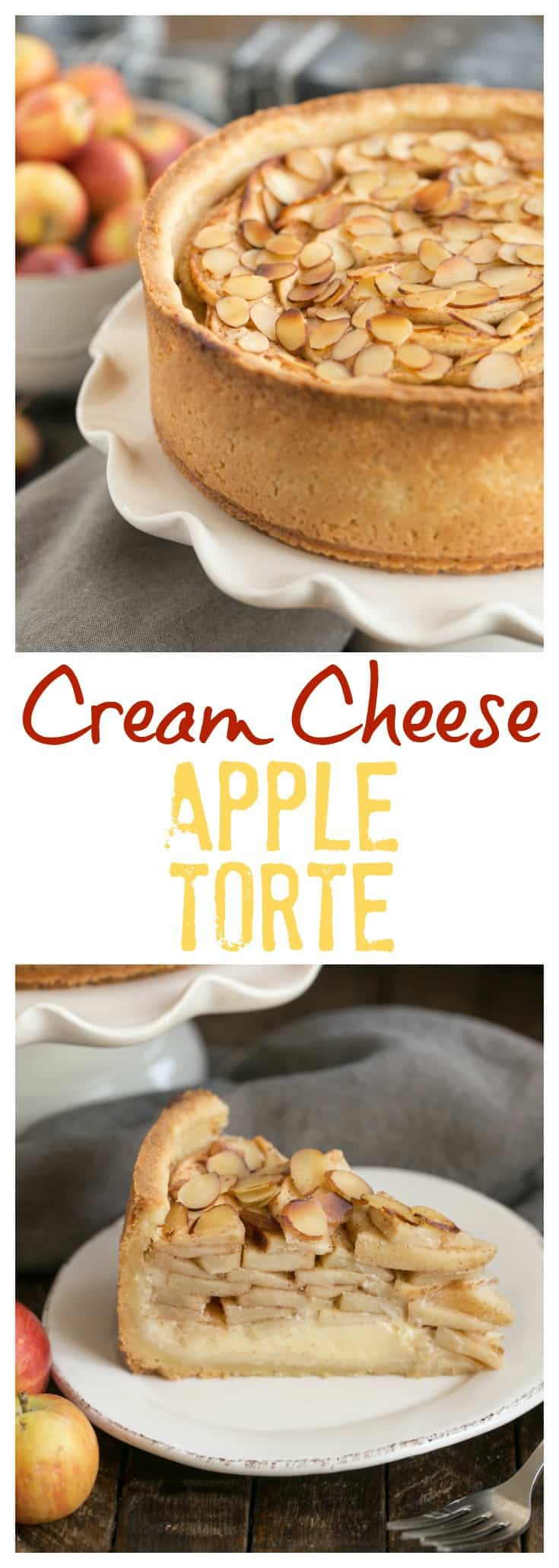 Cream Cheese Apple Torte - A buttery crust is topped with sweetened cream cheese, loads of cinnamon spiced apples, then sliced almonds #appledessert #tipsformakingappledesserts #bestpieapples #falldesserts #autumndessert #appletorte
