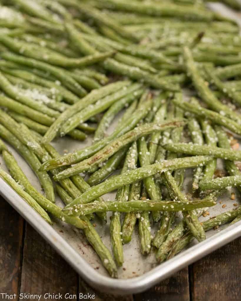 Garlic Parmesan Roasted Green Beans on a sheet pan