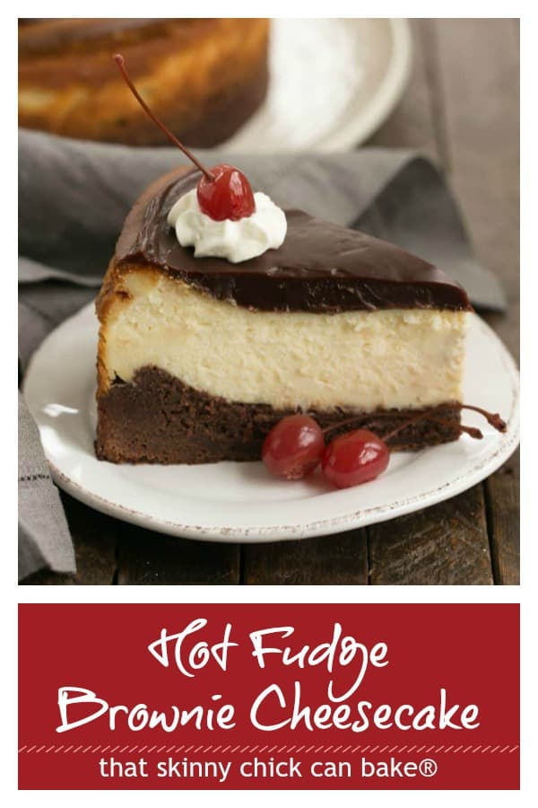 Hot fudge brownie cheesecake photo and text collage