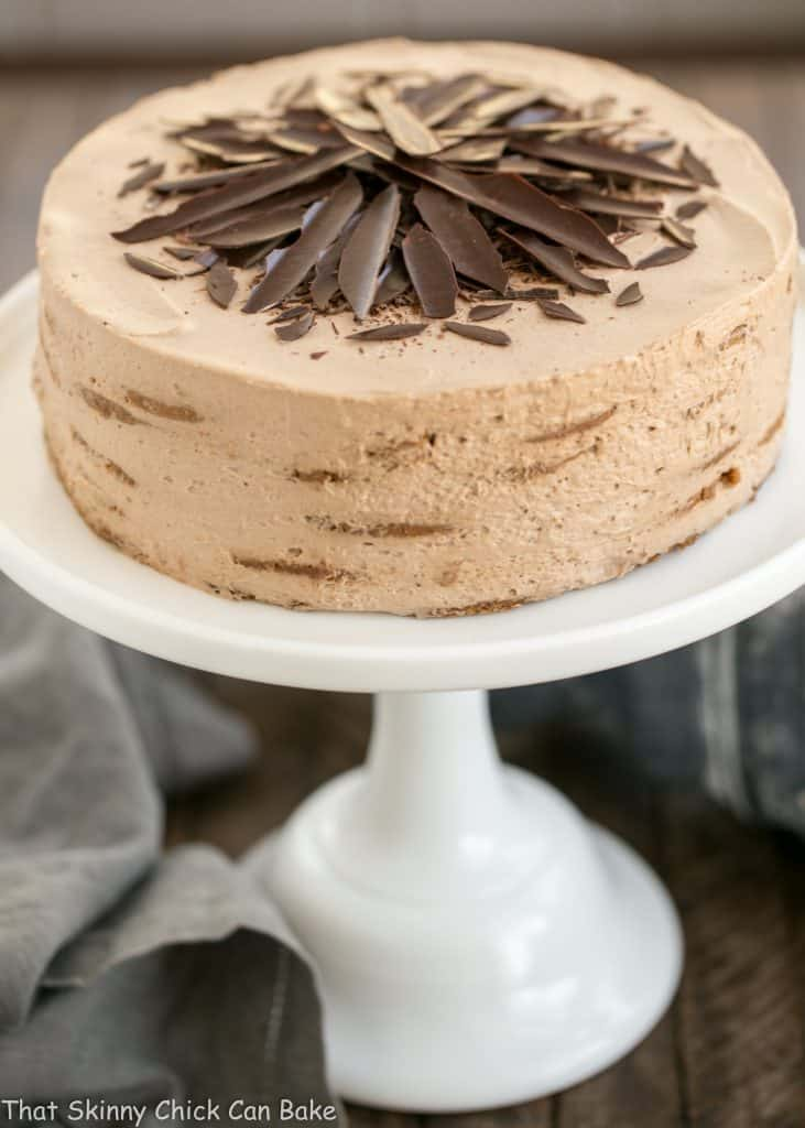 Mocha Chocolate Chip Cookie Icebox Cake on a white cake stand