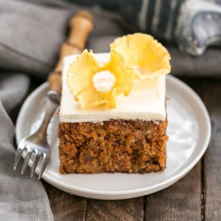 Old Fashioned Carrot Cake with Pineapple Flowers