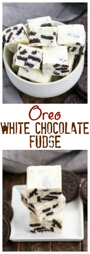Oreo White Chocolate Fudge | A no-fail fudge with white chocolate and chunks of Oreos!