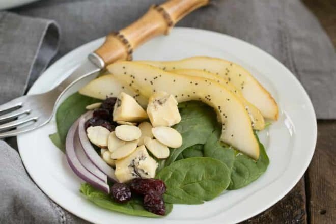 Pear Spinach Salad with Poppy Seed Dressing | A terrific autumn or winter salad with an out of this world salad dressing!
