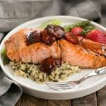 Strawberry Glazed Salmon   Roasted salmon brushed with a tasty, multifaceted strawberry sauce!