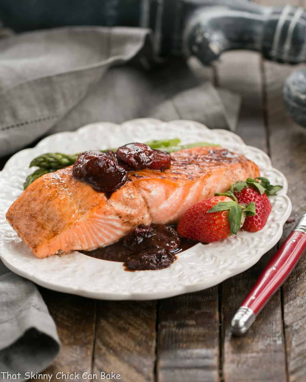 Strawberry Glazed Salmon | Roasted salmon brushed with a tasty, multifaceted strawberry sauce!