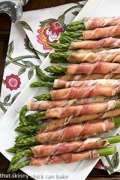 Prosciutto Wrapped Asparagus with Boursin overhead shot