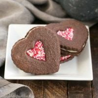 Chocolate Heart Sandwich Cookies | Cocoa cut out cookies filled with white chocolate ganache