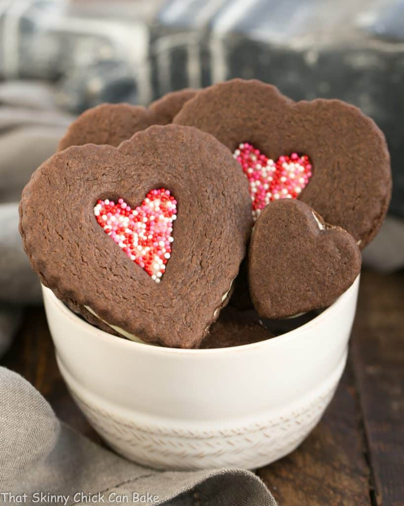 Chocolate Heart Sandwich Cookies in a white bowl