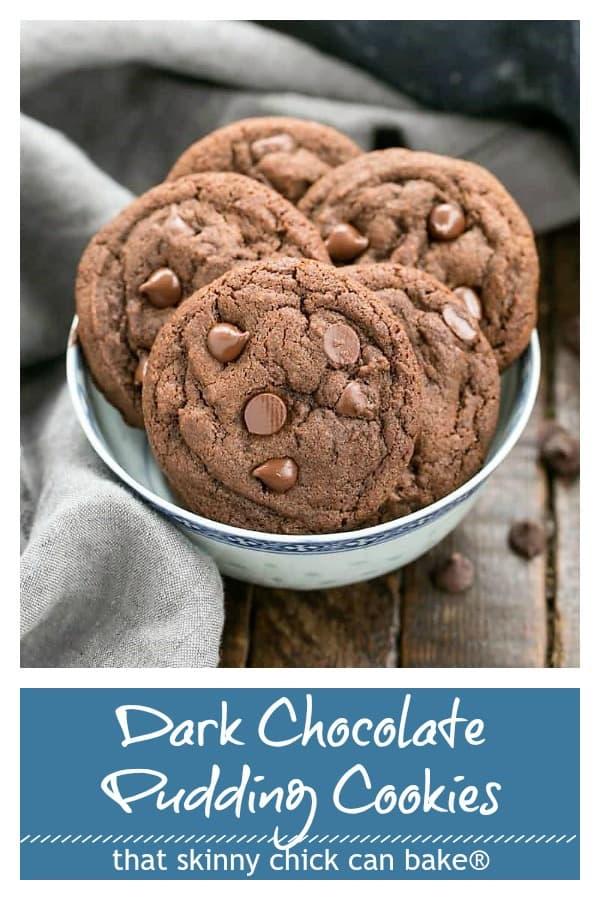 Dark chocolate pudding cookies pinterest collage