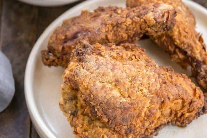Easy Southern Fried Chicken Recipe | Brined, breaded, shallow fried and baked for a fabulous picnic or game day dinner!