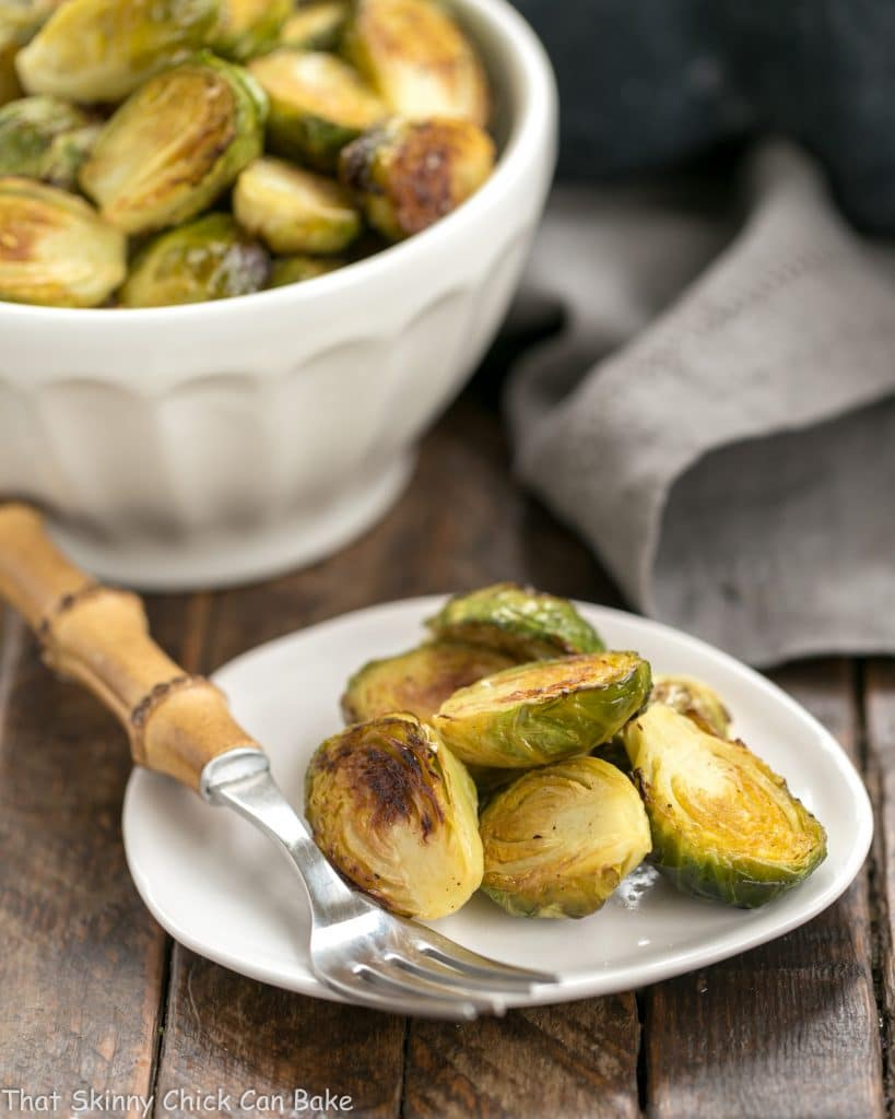 Honey Mustard Roasted Brussels Sprouts on small plate