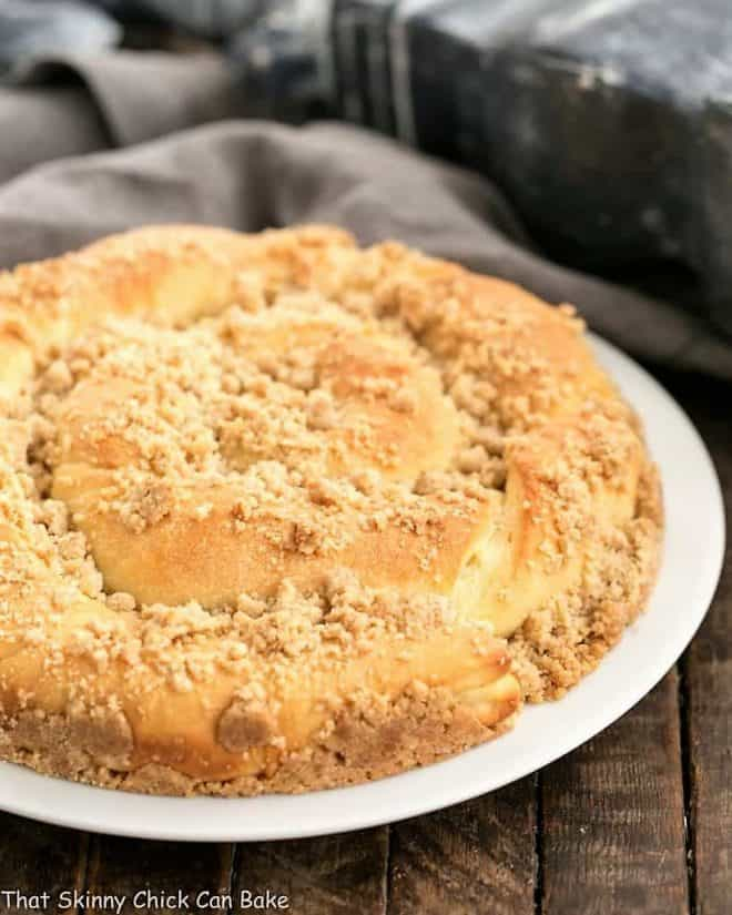Copycat Sara Lee Butter Streusel Coffeecake on a white serving plate