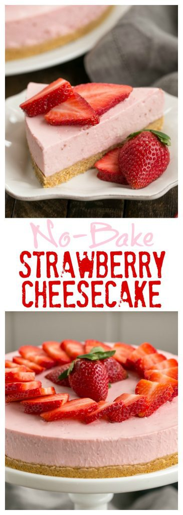 No-Bake Strawberry Cheesecake   A dreamy berry cheesecake that doesn't require turning on the oven!!!