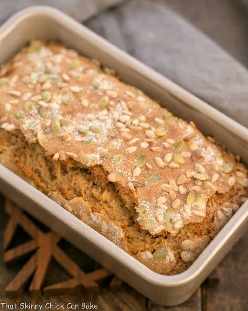 Seed-Topped Whole Wheat Banana Bread in a loaf pan