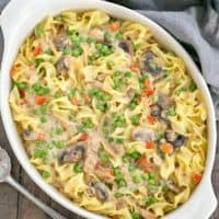 Tuna Noodle Casserole from Scratch in an oval white casserole dish