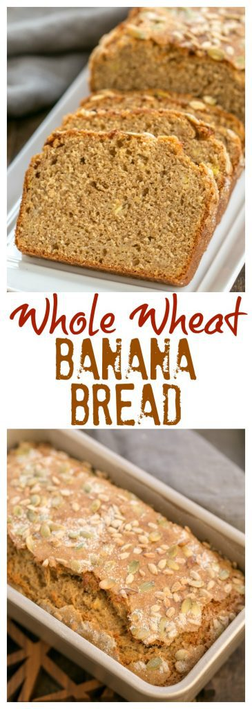 Seed-Topped Whole Wheat Banana Bread pinterest collage