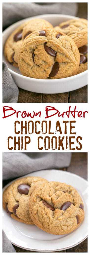 Brown Butter Chocolate Chip Cookies - with a boost of deliciousness from nutty brown butter and dark brown sugar! #cookies #brownbutter #chocolatechipcookies
