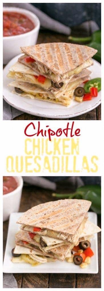 photos of chipotle chicken enchiladas on white plates