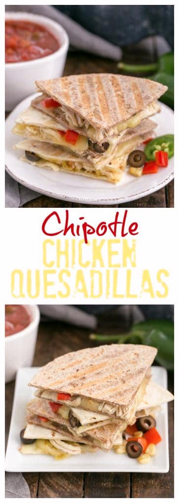 Irresistible,  EASY Cheesy Chipotle Chicken Quesadillas with red bell peppers, onions, corn, and gooey Monterey jack cheese #quesadillas #chicken #easyrecipe