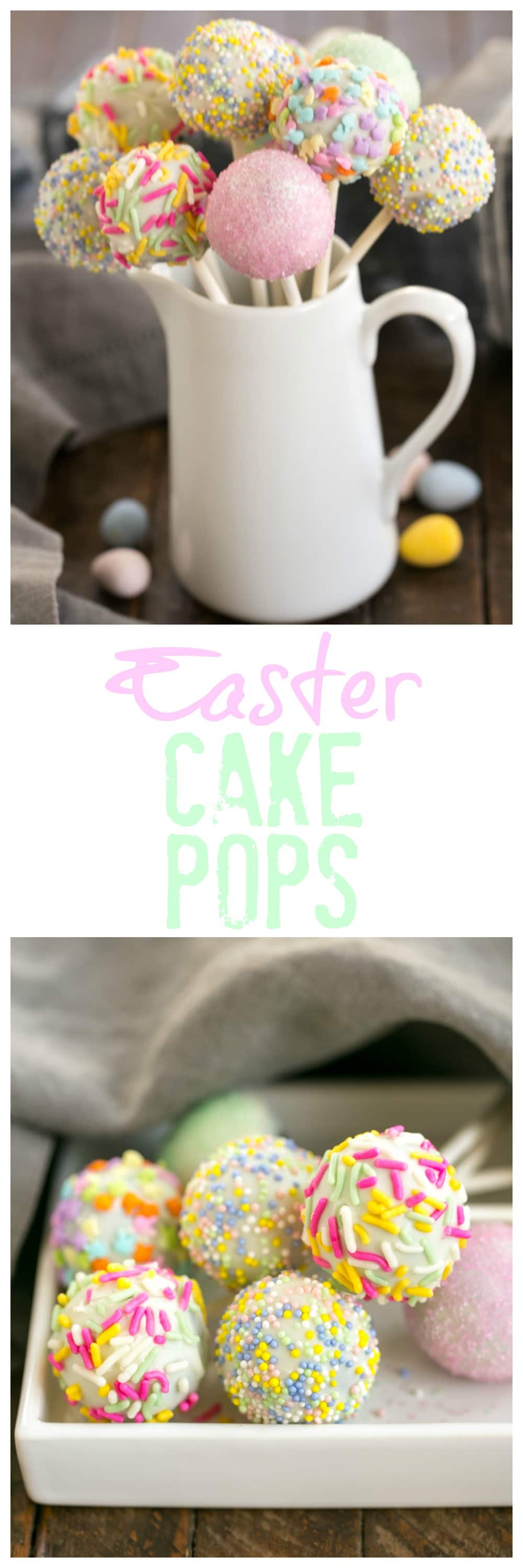 Easter Cake Pops - a festive holiday treat made with just four ingredients #cakepops #easter #easterdesserts
