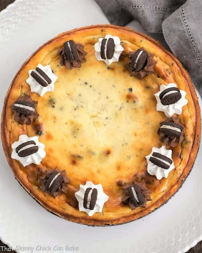 Overhead view of Oreo Cheesecake with Oreo Cookie Crust on a serving plate