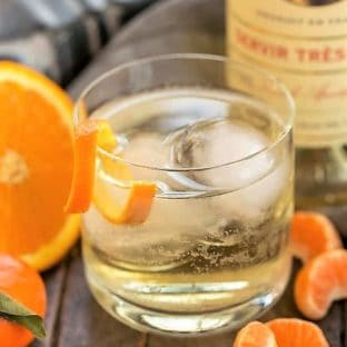 Lillet French Aperitif with an Orange Twist in a highball glass